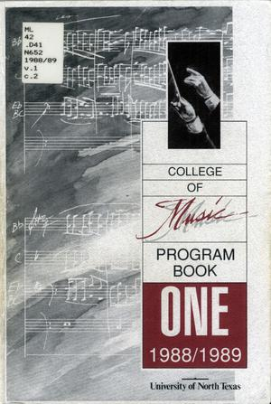 Primary view of object titled 'College of Music program book 1988-1989 Vol. 1'.