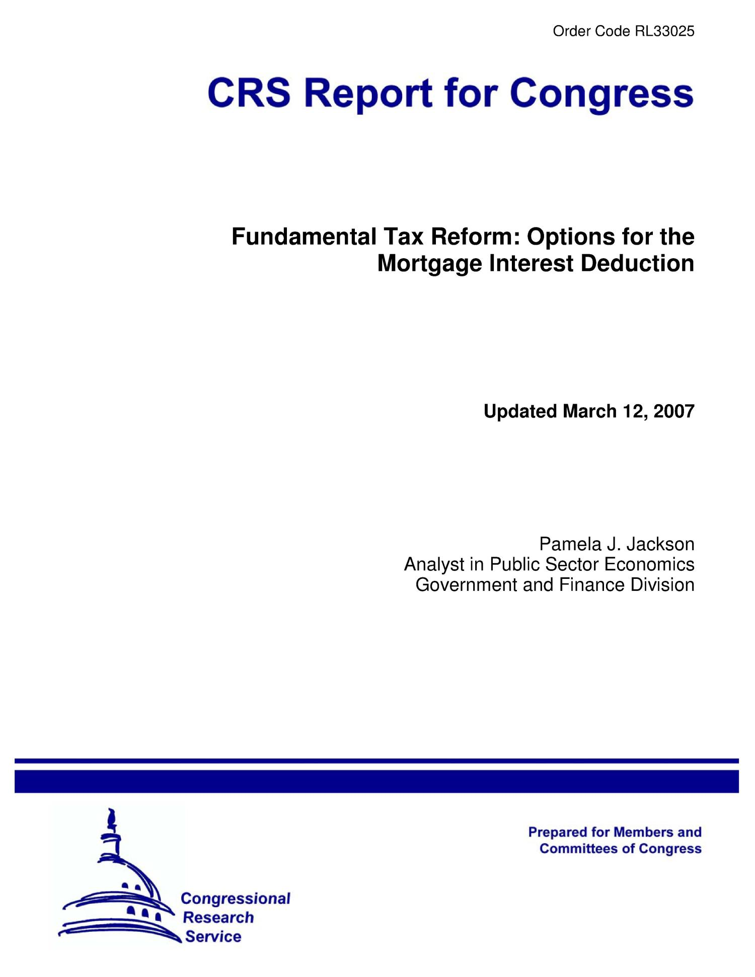 Fundamental Tax Reform Options For The Mortgage Interest Deduction