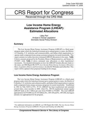 Primary view of object titled 'Low Income Home Energy Assistance Program (LIHEAP): Estimated Allocations'.