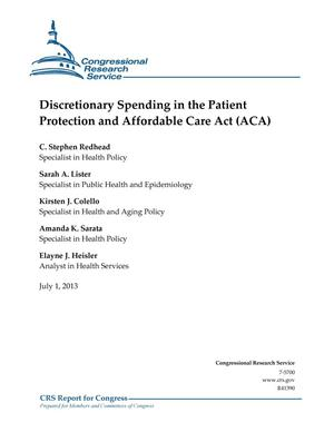 Primary view of object titled 'Discretionary Spending in the Patient Protection and Affordable Care Act (ACA)'.