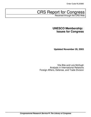 Primary view of object titled 'UNESCO Membership: Issues for Congress'.
