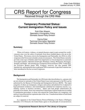 Primary view of object titled 'Temporary Protected Status: Current Immigration Policy and Issues'.