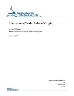 Primary view of object titled 'International Trade: Rules of Origin'.