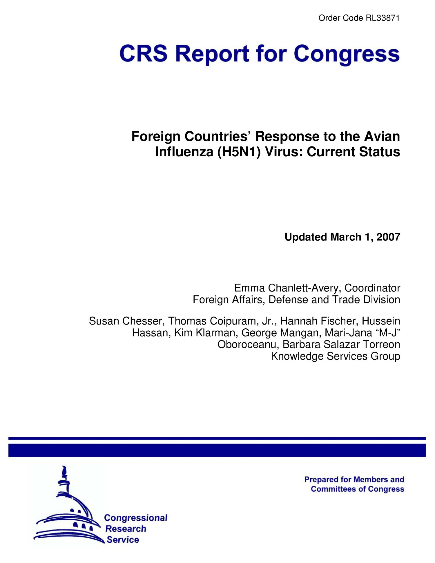 Foreign Countries' Response to the Avian Influenza (H5N1) Virus: Current Status                                                                                                      [Sequence #]: 1 of 15