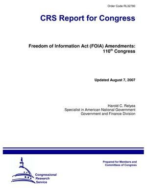 Primary view of object titled 'Freedom of Information Act (FOIA) Amendments: 110th Congress'.