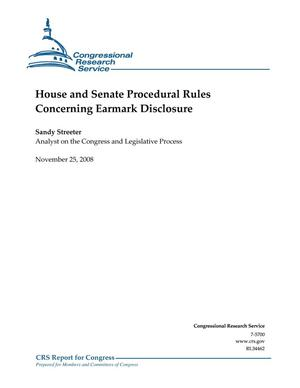 Primary view of object titled 'House and Senate Procedural Rules Concerning Earmark Disclosure'.