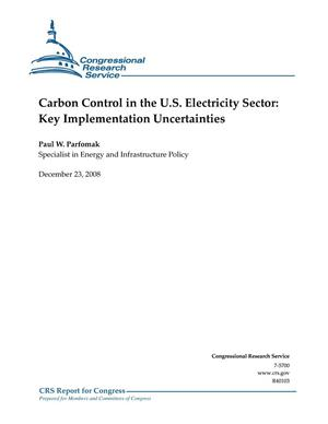 Primary view of object titled 'Carbon Control in the U.S. Electricity Sector: Key Implementation Uncertainties'.