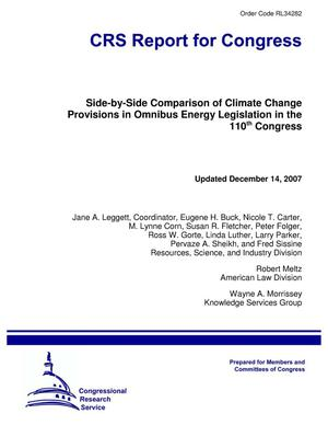 Primary view of object titled 'Side-by-Side Comparison of Climate Change Provisions in Omnibus Energy Legislation in the 110th Congress'.
