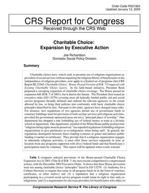 Primary view of object titled 'Charitable Choice: Expansion by Executive Action'.