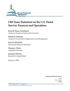 Primary view of object titled 'CRS Issue Statement on the U.S. Postal Service: Finances and Operations'.
