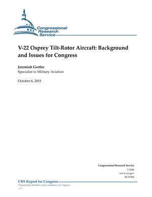 Primary view of object titled 'V-22 Osprey Tilt-Rotor Aircraft: Background and Issues for Congress'.