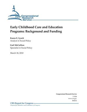 Primary view of object titled 'Early Childhood Care and Education Programs: Background and Funding'.