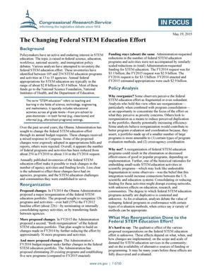 Primary view of object titled 'The Changing Federal STEM Education Effort'.