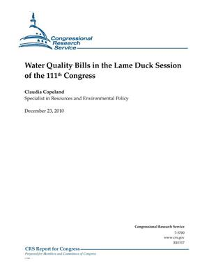 Primary view of object titled 'Water Quality Bills in the Lame Duck Session of the 111th Congress'.