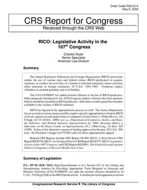 Primary view of object titled 'RICO: Legislative Activity in the 107th Congress'.