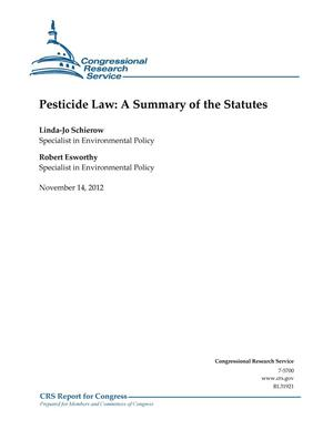 Primary view of object titled 'Pesticide Law: A Summary of the Statutes'.