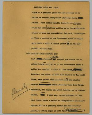 Primary view of object titled '[News Script: Gasoline price war]'.