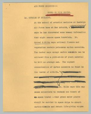 Primary view of object titled '[News Script: Air Force medicine]'.