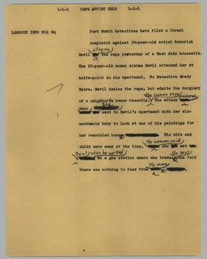Primary view of object titled '[News Script: Rape artist held]'.