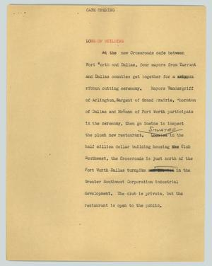 Primary view of object titled '[News Script: Cafe opening]'.