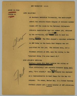 Primary view of object titled '[News Script: SMU probation]'.