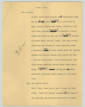 Primary view of object titled '[News Script: Water]'.