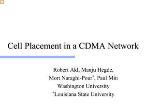 Cell Placement in a CDMA Network