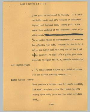 Primary view of object titled '[News Script: Park opening]'.