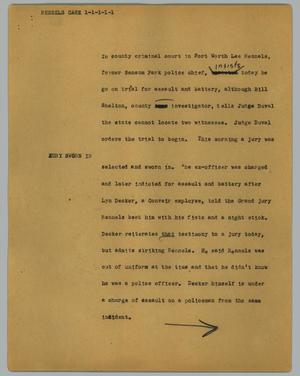 Primary view of object titled '[News Script: Rennels case]'.