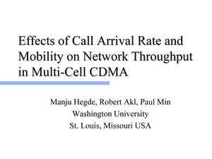Primary view of object titled 'Effects of Call Arrival Rate and Mobility on Network Throughput in Multi-Cell CDMA'.