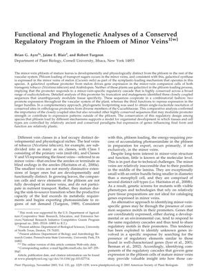 Primary view of object titled 'Functional and Phylogenetic Analyses of a Conserved Regulatory Program in the Phloem of Minor Veins'.