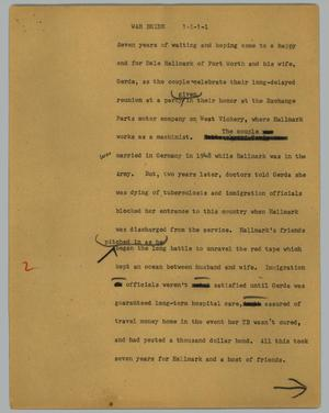 Primary view of object titled '[News Script: War bride]'.