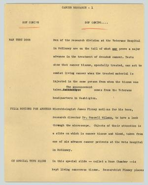Primary view of object titled '[News Script: Cancer research]'.