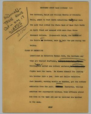 Primary view of object titled '[News Script: Brothers admit bank robbery]'.