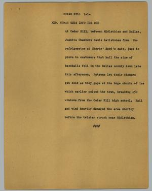 Primary view of object titled '[News Script: Cedar Hill]'.