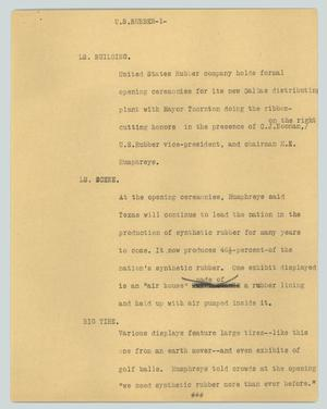 Primary view of object titled '[News Script: U.S. Rubber]'.