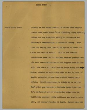 Primary view of object titled '[News Script: Derby train]'.