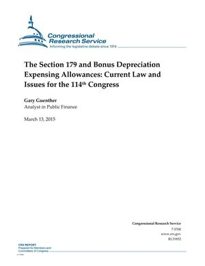 Primary view of object titled 'The Section 179 and Bonus Depreciation Expensing Allowances: Current Law and Issues for the 114th Congress'.