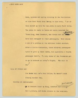 Primary view of object titled '[News Script: Fort Worth Cats]'.