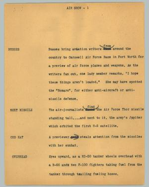 Primary view of object titled '[News Script: Air show]'.