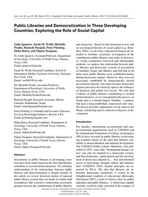 Primary view of object titled 'Public Libraries and Democratization in Three Developing Countries: Exploring the Role of Social Capital'.