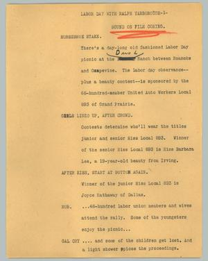 Primary view of object titled '[News Script: Labor Day with Ralph Yarborough]'.