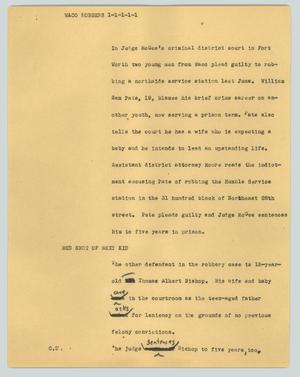 Primary view of object titled '[News Script: Waco robbers]'.