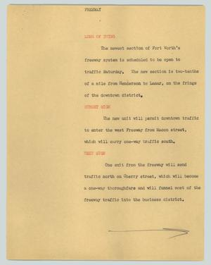 Primary view of object titled '[News Script: Freeeway]'.