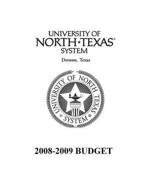 Primary view of object titled 'University of North Texas System Budget: 2008-2009'.