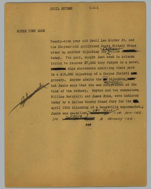 Primary view of object titled '[News Script: Cecil Snyder]'.