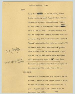Primary view of object titled '[News Script: Haggard resigns]'.