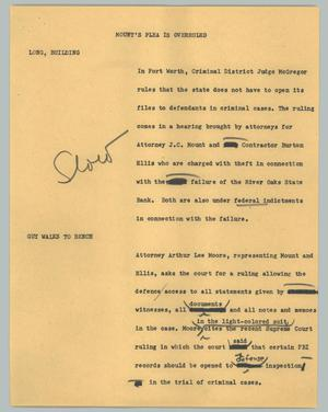 Primary view of object titled '[News Script: Mount's plea is overruled]'.