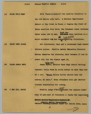 Primary view of object titled '[News Script: Dallas traffic school]'.