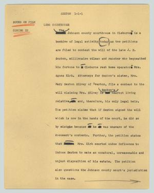 Primary view of object titled '[News Script: Sexton]'.